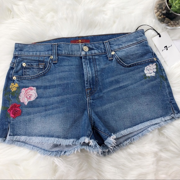 1d121274dd4 7 For All Mankind Shorts | Embroidered Cutoff Jean | Poshmark